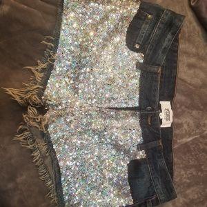 PINK sequin jean shorts victoria secret size 8